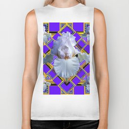 ART DECO WHITE IRIS PURPLE ART Biker Tank