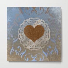 Brown Heart Metal Print