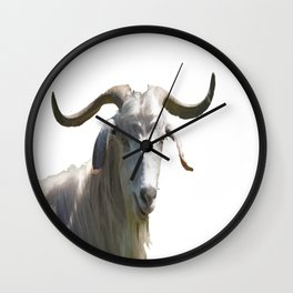 Portrait of a Horned Goat Grazing Vector Wall Clock