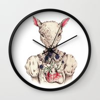 silence of the lambs Wall Clocks featuring Silence of the Lambs by Marie Toh