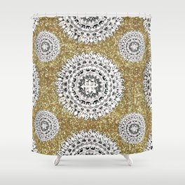 Gold litter and Silver Mandala Patterned Textile Shower Curtain