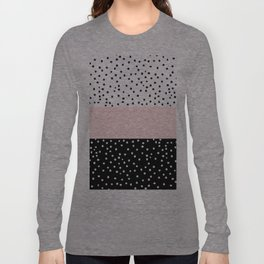 Pink white black watercolor polka dots Long Sleeve T-shirt