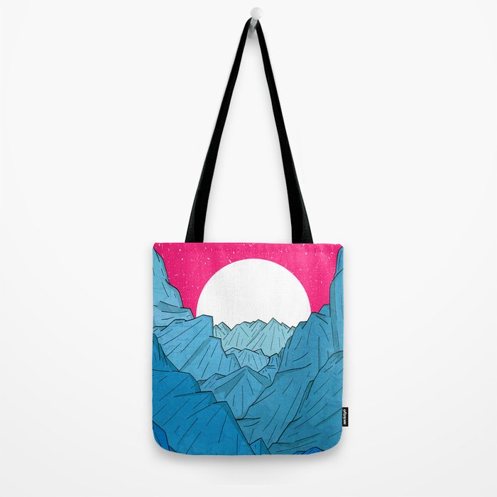 The moon over the mountains Tote Bag