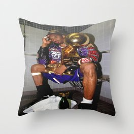 K.B , Kobe#Bryant Celebration with Trophies in Bathroom Canvas Wall Art -Mamba Poster Throw Pillow
