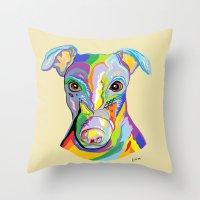 greyhound Throw Pillows featuring Greyhound by EloiseArt