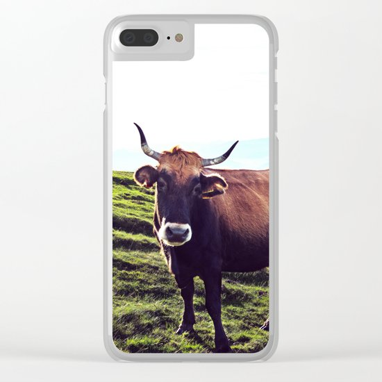 Cow in the Alps, Mountains Clear iPhone Case