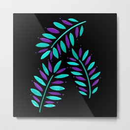 Tropical Leaves Trio Turquoise Purple on Black Metal Print