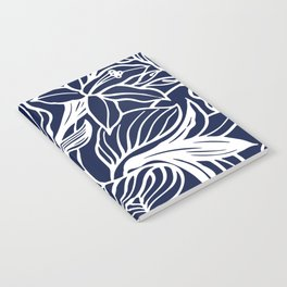 Navy Blue Floral Minimal Notebook