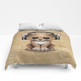 Cute Lion Cub Dj Wearing Headphones Comforters