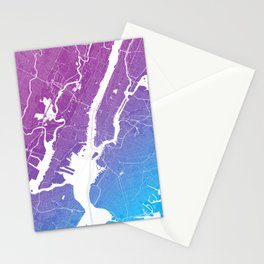 New York Map Print. Neon Pink and Blue Stationery Cards