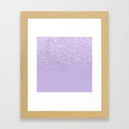Stylish purple lavender glitter ombre color block Framed Art Print