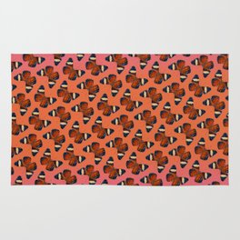 Hamadryas Amphinome Butterfly - Dark Orange & Deep Blue Black Rug