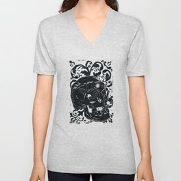 Black Lino Skull Unisex V-Neck