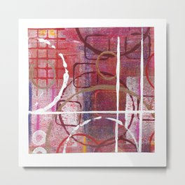 Lines, Circles And Squares, OH MY! 1 Bottom Square Metal Print