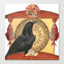 Crow with Goldfish Canvas Print