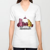 breakfast club V-neck T-shirts featuring Breakfast Club by Salih Gonenli