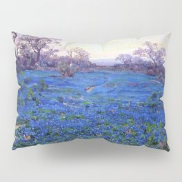 Bluebonnets at Twilight, mountain-desert landscape painting by Robert Julian Onderdonk Pillow Sham