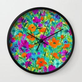 Wild Garden Teal Wall Clock