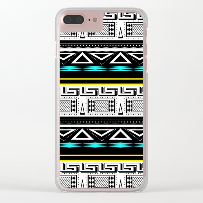 Black and white c turquoise abstract striped pattern . Clear iPhone Case