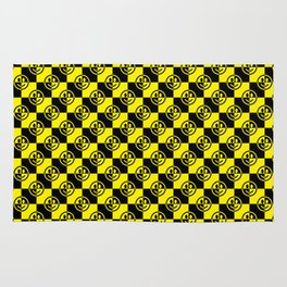 Yellow and Black Smiley Face Check Rug