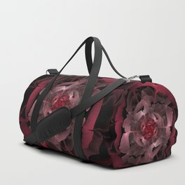 Abloom in Lusciously Crimson-Red Petals of a Rose Duffle Bag