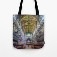 shining Tote Bags featuring Shining Faith by Ian Mitchell