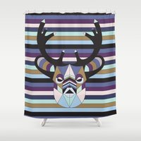 striped Shower Curtains featuring Striped Moose by Naia Ceschin