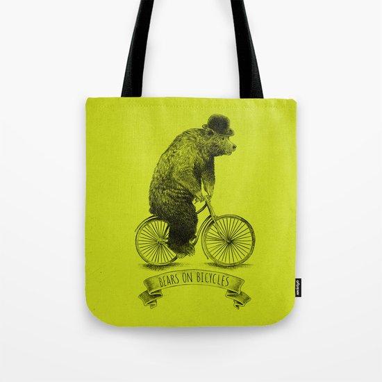 Bears on Bicycles (Lime) Tote Bag
