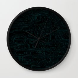 Dark lava threads and metal wire with volcanic light blue tints. Wall Clock