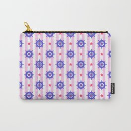 Modern nautical geometric blue pink stripes ships wheels pattern Carry-All Pouch