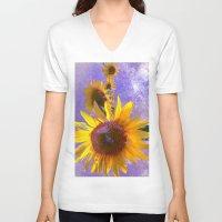sunflower V-neck T-shirts featuring Sunflower4 by Regan's World