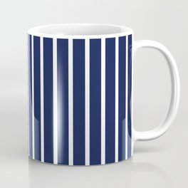 Navy Blue and White Vertical Stripes Pattern Coffee Mug
