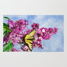 Lilac and The Swallowtail by Teresa Thompson Rug