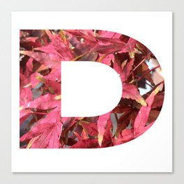 """""""D"""" Initial Leaves Canvas Print"""