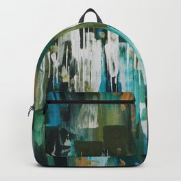 Acrylic Blue, Green and Gold Abstract Painting Backpack