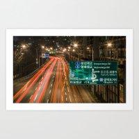 seoul Art Prints featuring Seoul Traffic by Clayton Jones