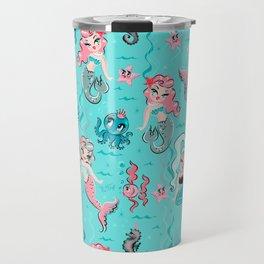 Babydoll Mermaids on Aqua Travel Mug
