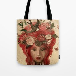 red haired green eyed Crimson Fairy with flowers butterflies and birds portrait Tote Bag