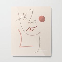 Feminine Abstract Face Modern Wall Art Metal Print