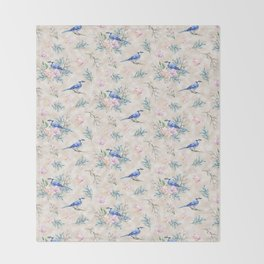 Chic Watercolour Blue Jay Spring Flowers Throw Blanket