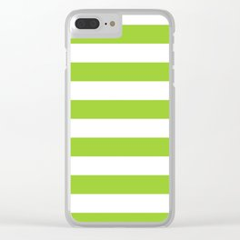 Horizontal stripes / yellow green Clear iPhone Case