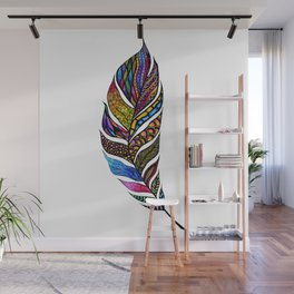 Colorful Watercolor Hand Drawn Tangle Feather Wall Mural