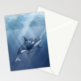 Orca / Killer whale painting in blue sea Stationery Cards