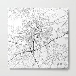 Lowell Map, USA - Black and White Metal Print