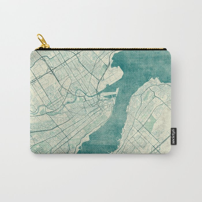 Quebec City Map Blue Vintage Carry-All Pouch