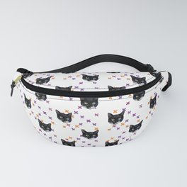 Cute Tuxedo Cat Faces with Pink Cross Bandaids Fanny Pack