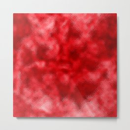 Neon Red Mottled Metallic Foil Metal Print
