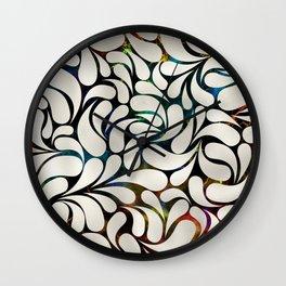 Cream Platinum / Silver Paisley pattern Wall Clock