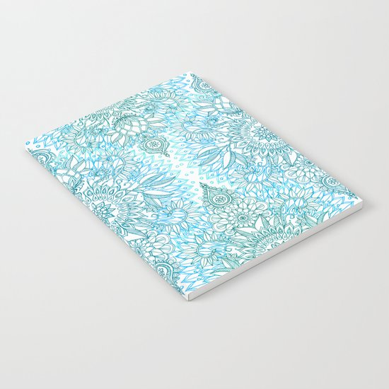 Turquoise Blue, Teal & White Protea Doodle Pattern Notebook