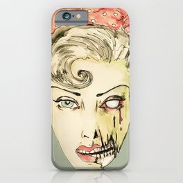 zombie pin-up retro housewife horror rockabilly scarf wearing strong woman iPhone Case